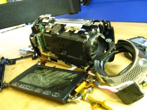 A smashed Panasonic camcorder
