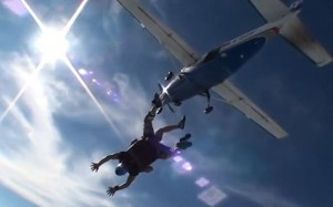 Oliver jumping out of the plane