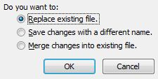 Replace existing file
