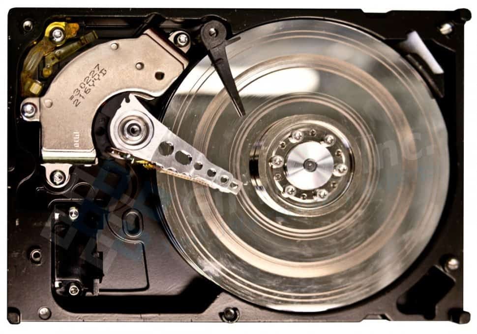 hard drive showing platters with rotational scoring