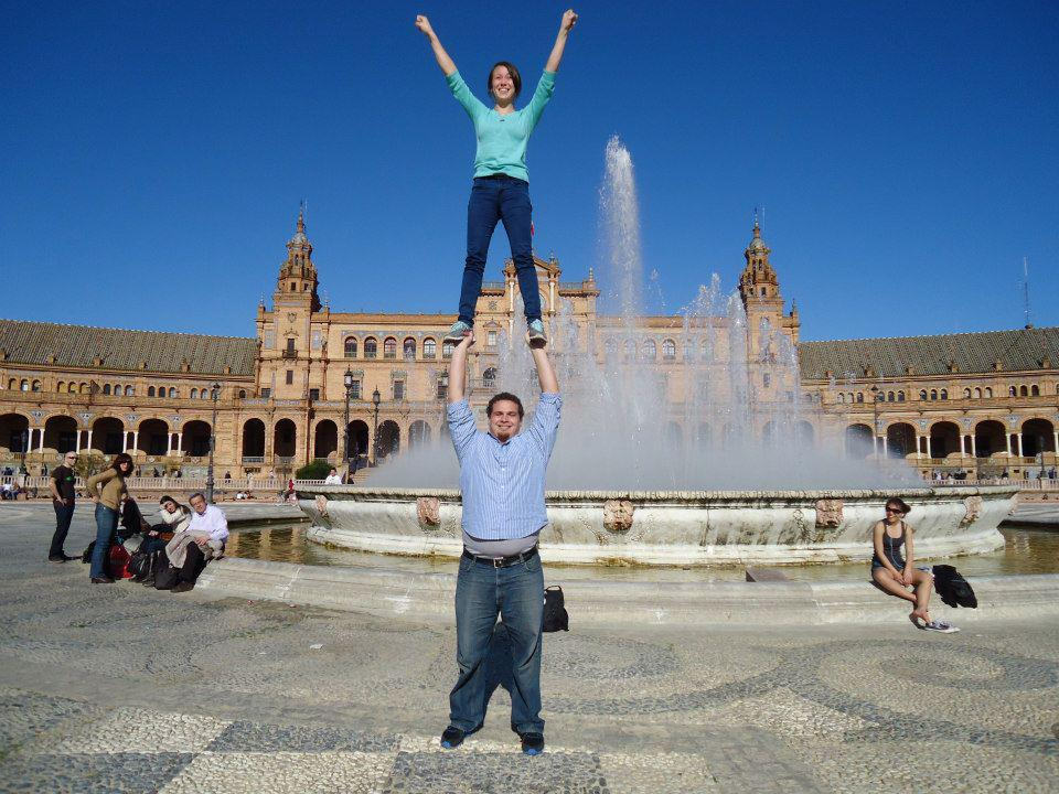 All my photos from when I studied abroad were recovered. Here's one of my boyfriend and I doing a cheerleading stunt at the Plaza de Espana in Seville, Spain.