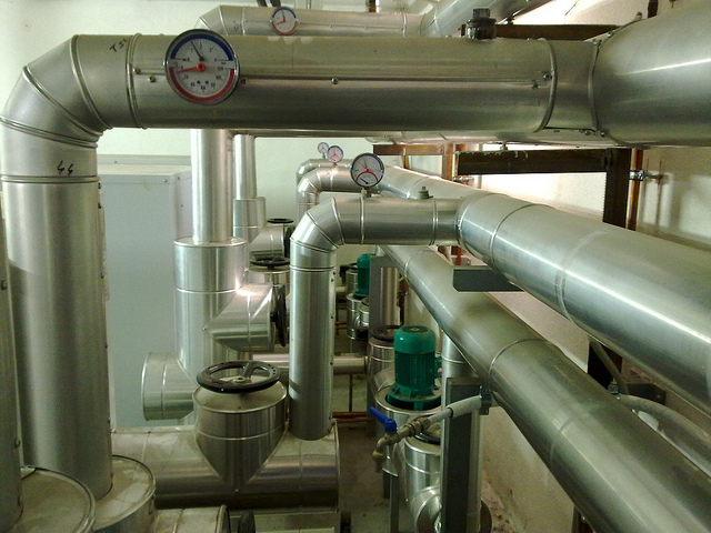 chilled water pipes, data center
