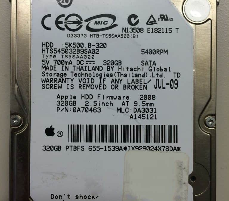 Hitachi 320GB hard drive