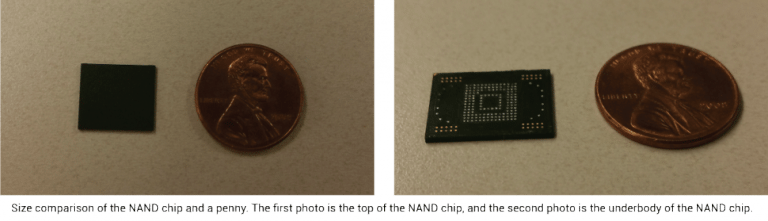Size comparison of the NAND chip and a penny. The first photo is the top of the NAND chip, and the second photo is the underbody of the NAND chip.