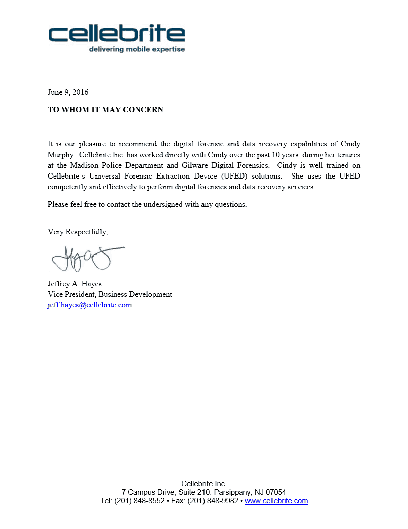 Cindy Murphy Recommendation Letter
