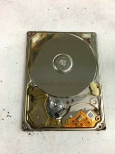 The camcorder's Toshiba MK8034GAL hard drive after being removed from the camcorder and with its faceplate removed.