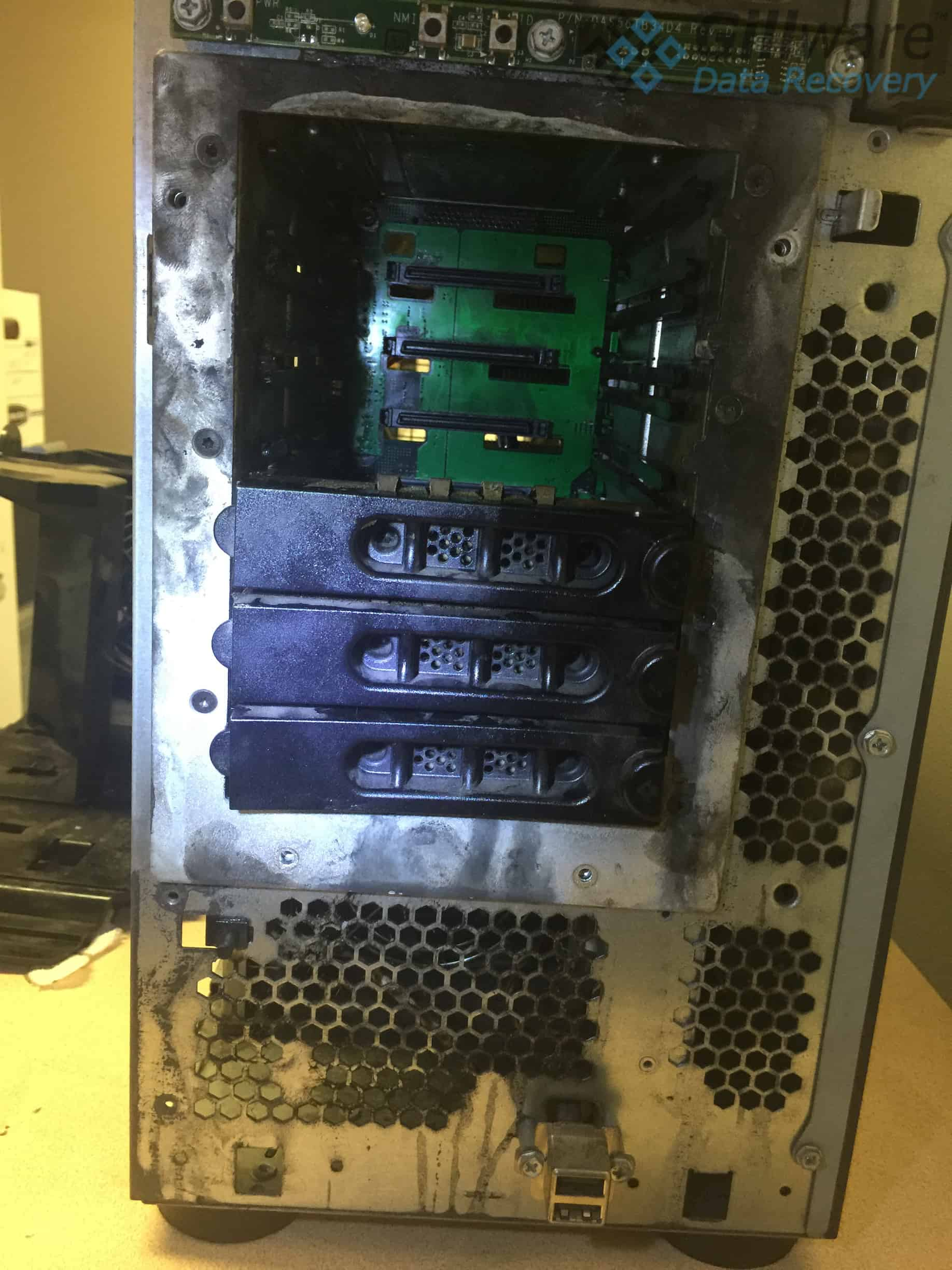 A server shortly after the incident, in need of RAID-5 server recovery