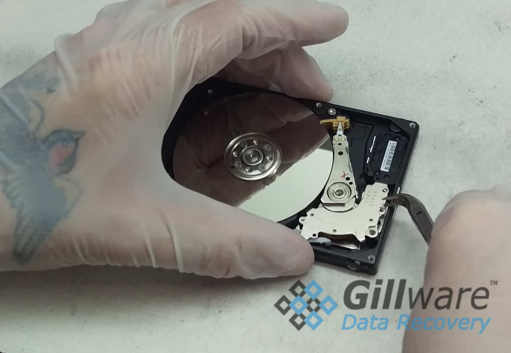 Repairing a failed hard drive after a power outage can require a heads swap in our cleanroom.