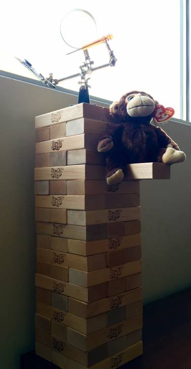 Some office decor, including giant Jenga.