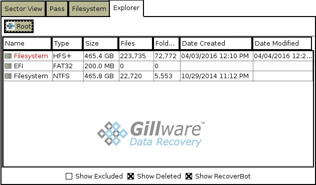 HOMBRE shows recently-created filesystems, such as the filesystem in this reformatted partition data recovery case, in red text.