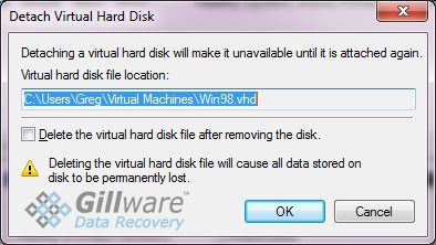 Virtual Hard Disk Prompt - ThawSpaces