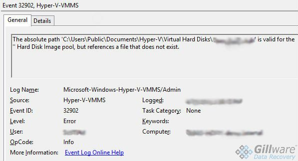 Missing VHD error message