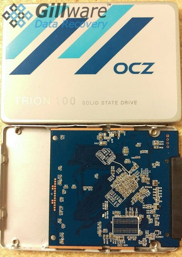 The solid-state drive from an OCZ Trion 100 SSD flash device recovery case