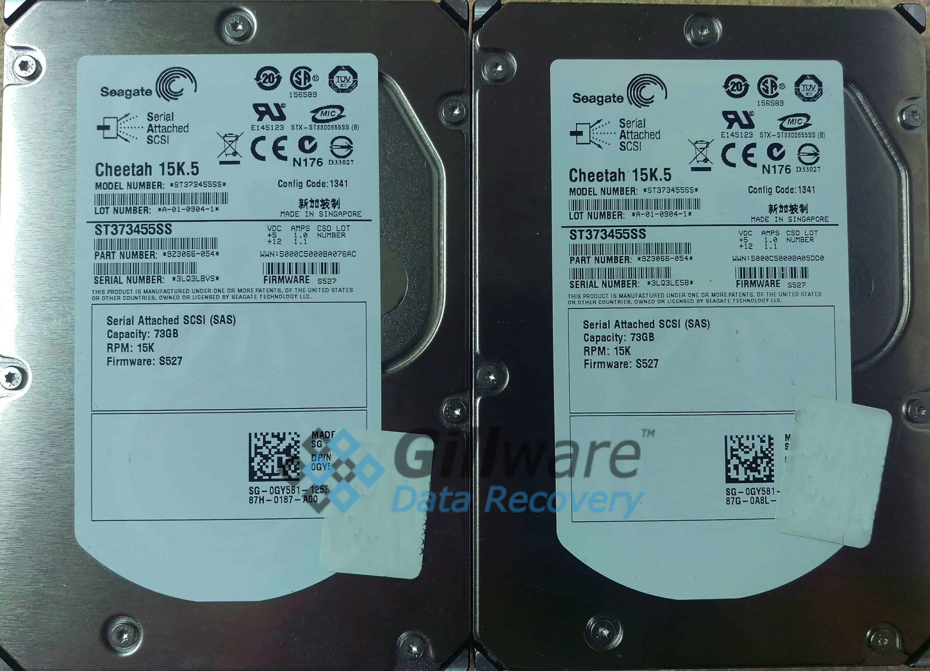 The two Seagate Cheetah 15K.5 Enterprise-class hard drives from this RAID-0 data recovery case.