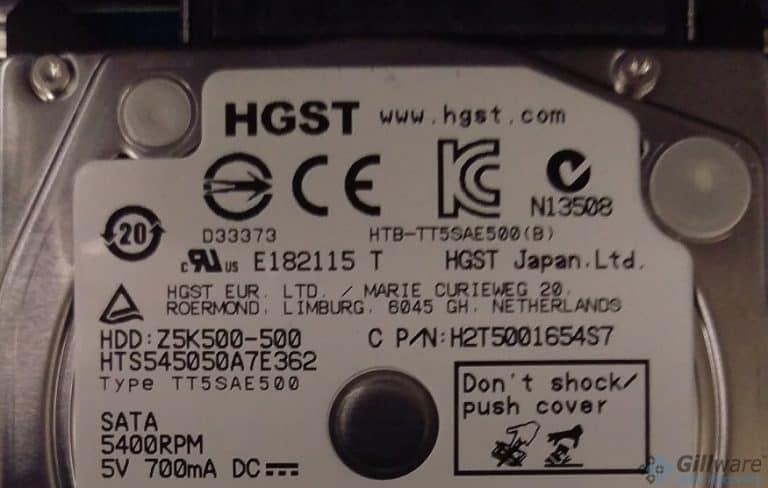 HGST 500GB hard drive