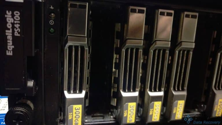 Close up of server drive trays