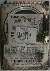 Toshiba hard drive with fire damage