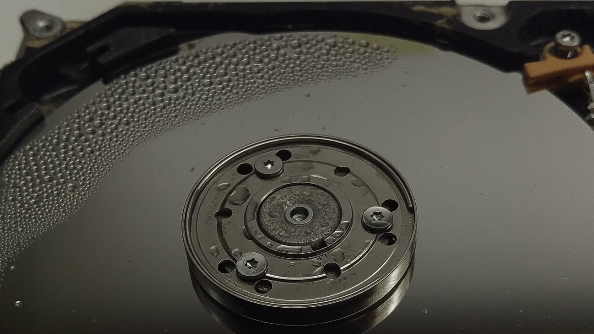 Hard drive platter with condensation on surface
