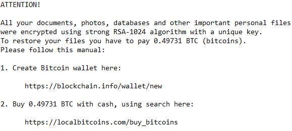 Nemucod ransomware screenshot