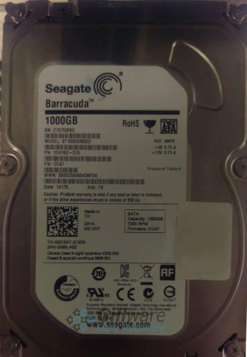 The Seagate Barracuda brought to Gillware for lightning strike data recovery