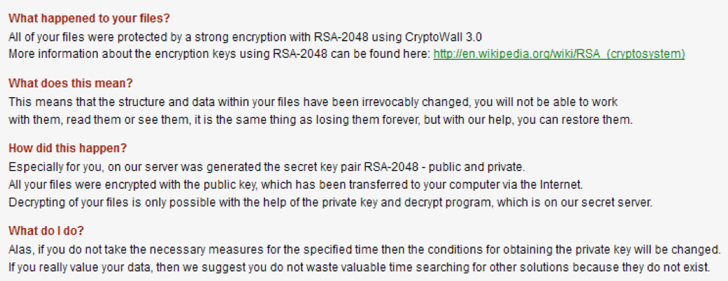 Our ransomware data recovery technicians frequently have to contend with cryptoviruses such as CryptoWall 3.0