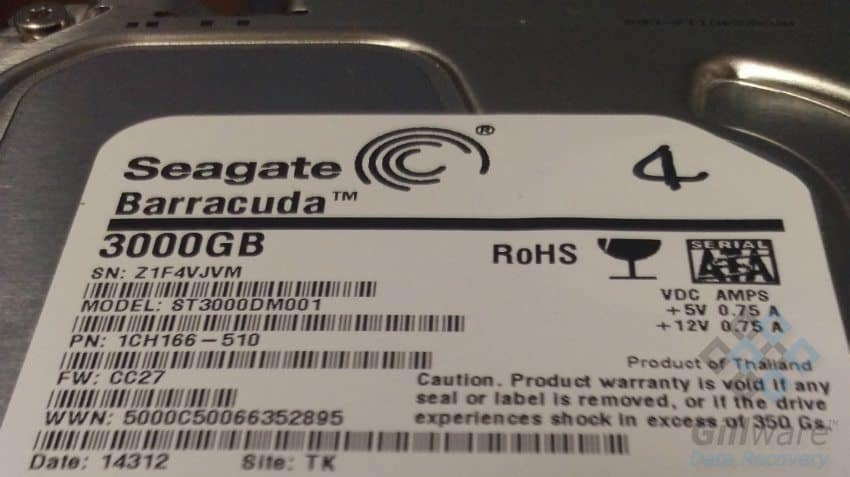 One of the four Seagate Barracuda hard drives pulled from the DiskStation DS411 unit for data recovery
