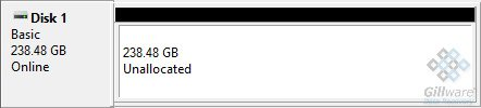 Unallocated SSD in Windows Disk Management