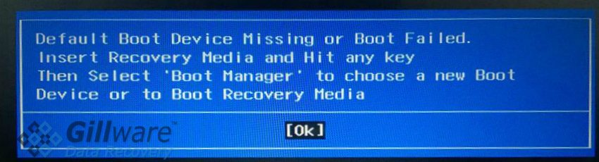 Default Boot Device Missing or Boot Failed. Insert recovery media and hit any key, then select Boot Manager to choose a new boot device to boot or recovery media.