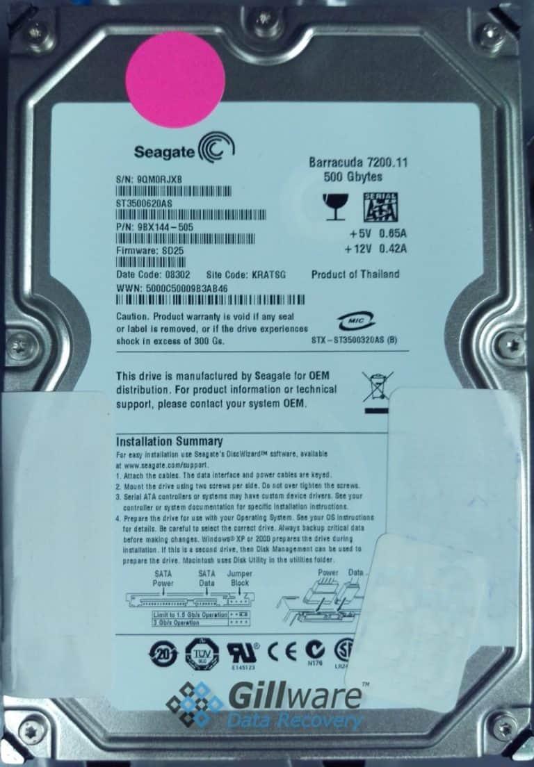 Seagate Barracuda 500GB VHD Recovery