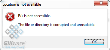 "Unreadable hard drive error message: ""The file or directory is corrupted and unreadable."""