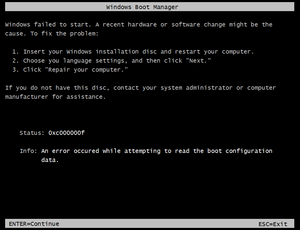 File: \Boot\BCD Status: 0xc000000f Info: An error occurred while attempting to read the boot configuration data