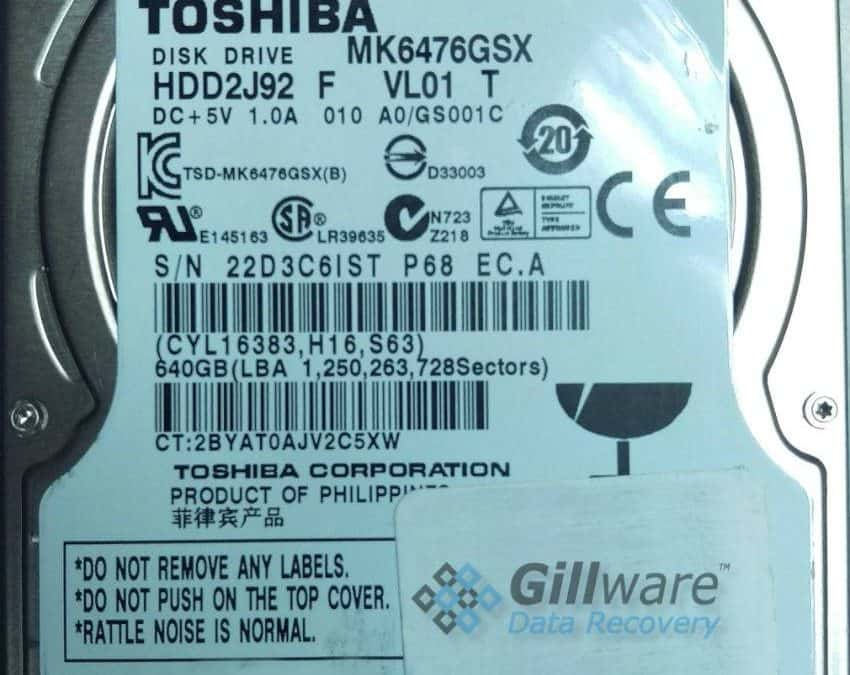 Toshiba HDD Recovery Case Study: Hard Drive Clicking