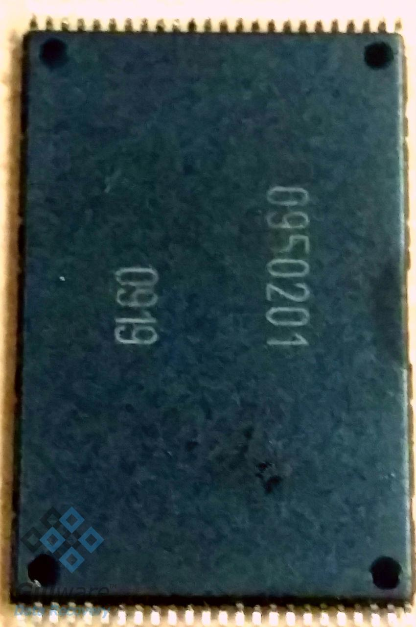 The NAND chip pulled off of the PCB in this USB recovery case
