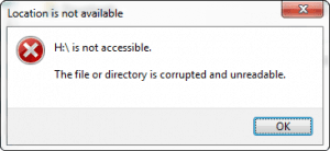 A common Hard Drive Not Detected error message in which an external hard drive is no longer accessible.