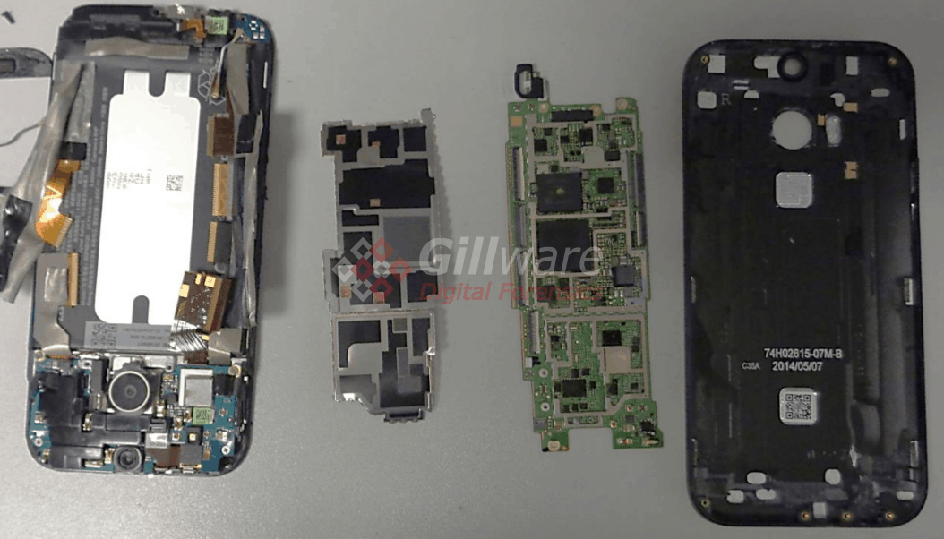 HTC One phone completely disassembled for chip-off forensic acquisition