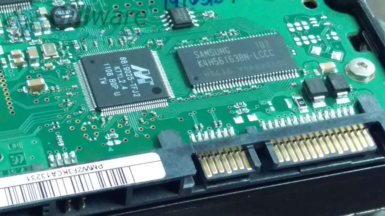 A hard drive power surge can fry the drive's printed control board (PCB)