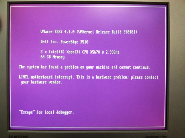 "The dreaded ""Purple Screen of Death"""