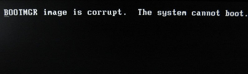 "A typical BOOTMGR image error: ""BOOTMGR image is corrupt. The system cannot boot."""