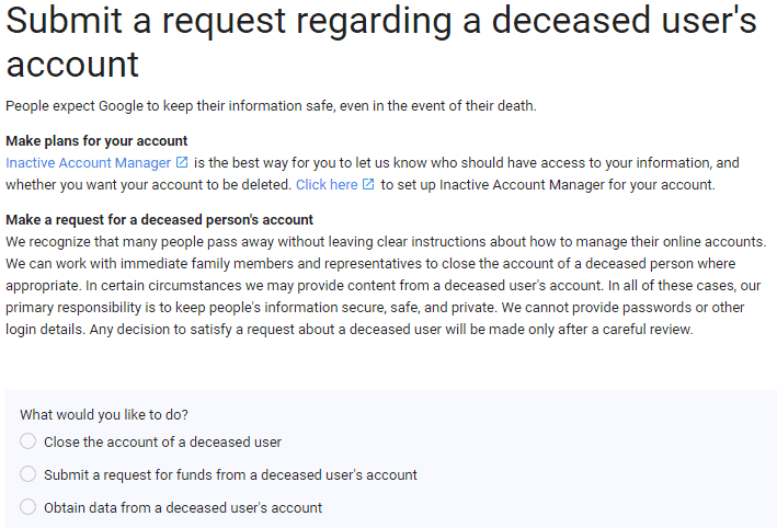 Requesting access to a deceased person's Google account