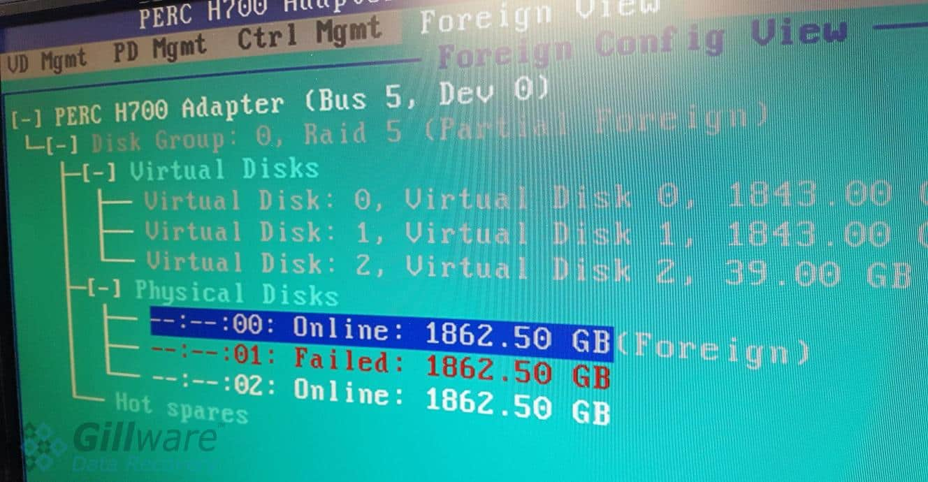 One disk with a foreign status and one disk with a failed status in the PERC H700 BIOS config