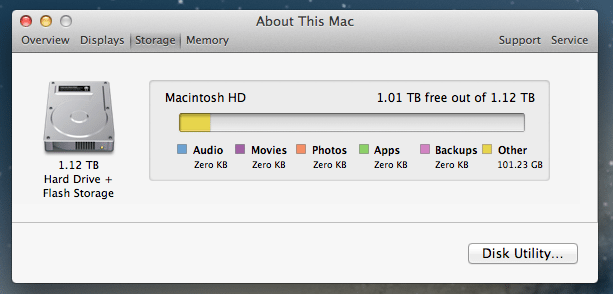 "Fusion Drive in the ""About This Mac"" dialog panel"