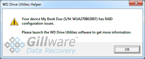 "WD MyBook Duo configuration error: ""Your device My Book Duo has RAID configuration issues. Please launch the WD Drive Utilities software to get more information."""