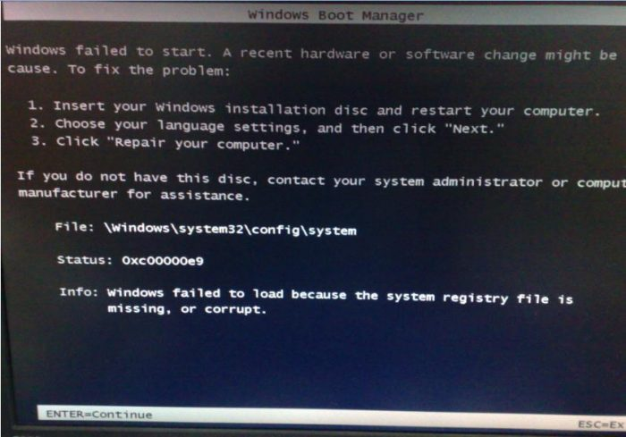 Lenovo data recovery: Hard drive 0xc000009 boot error