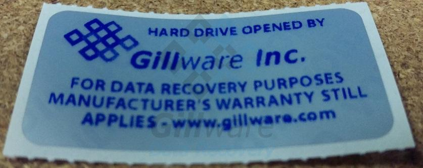 Sticker used by Gillware to maintain hard drive manufacturers warranty