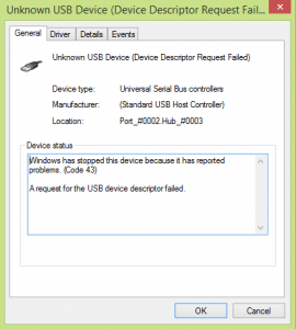 Windows has stopped this device because it has reported problems. (Code 43). USB Device Not Recognized.