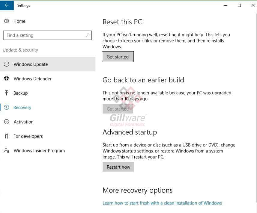 Windows Reset user interface in Windows Update control panel
