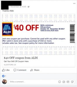 This is an image of what someone sharing the scam coupon for $40 off a purchase at Aldi would look like.