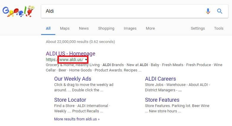 "Google search results for ""Aldi"""