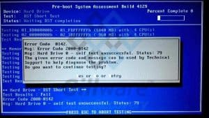 Error code 2000-0142 with hard disk short DST failed error message