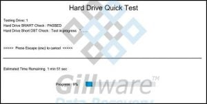 Hard drive test in progress including short DST check